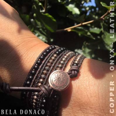 Dames wikkelarmband van Koper, Onyx en vintage leer