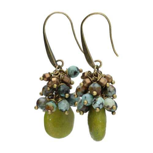 Oorbellen Wrap Wire – Jade druppel – Afrikaanse Turquoise – Brons
