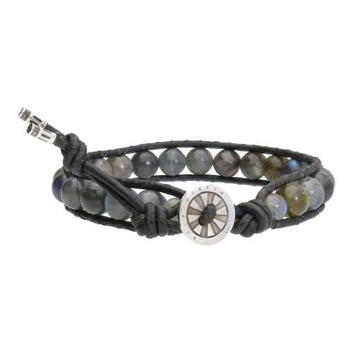 Armband Classic B8 – Labradoriet – Leer – Sterling Zilver
