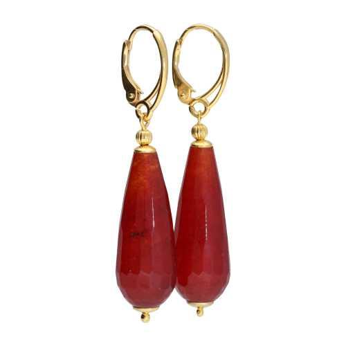 Oorbellen Art Deco – Rode facet Jade – 24K verguld Sterling Zilver