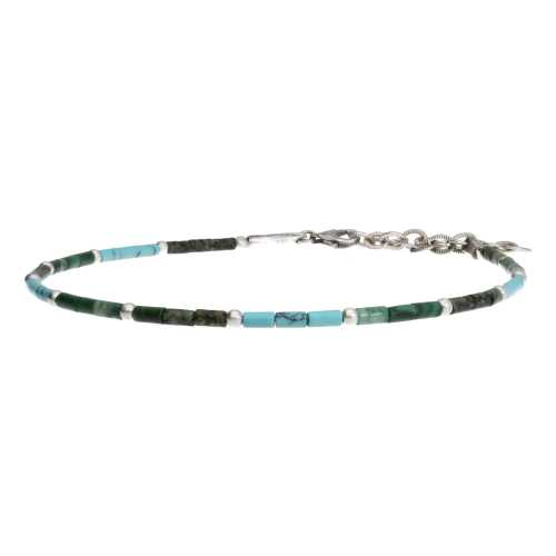 Enkelbandje Bohemian B2.5 – Turquoise – Afrikaanse Turquoise – Afrikaanse Jade – Sterling Zilver