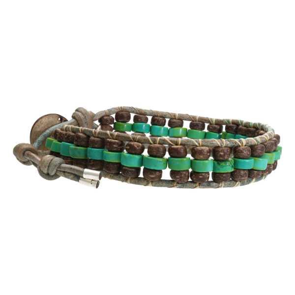 Armband Bohemian green B6x3 Hubei Turquoise Kokos leer-6