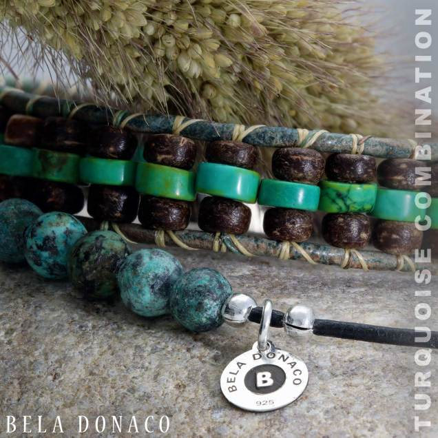 Enkelbandje Bohemian Green - Afrikaanse Turquoise - Leer-7