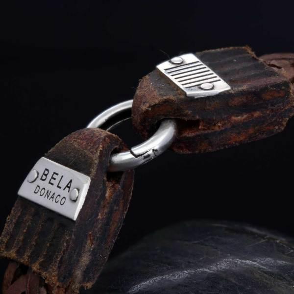 Armband Classic W15 Gevlochten old School leder Sterling Zilver-18