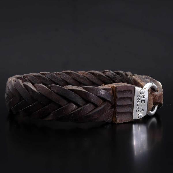 Armband Classic W15 Gevlochten vintge bruin leder Sterling Zilver-12-def