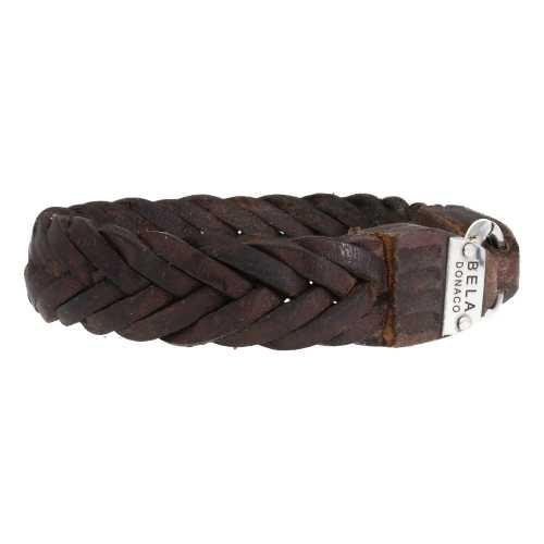Armband Supreme W15 – Gevlochten vintage bruin leder – Sterling Zilver