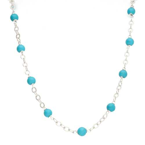 Ketting  Wrap Wire B6 – Hubei Turquoise – Sterling Zilver