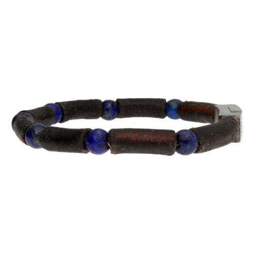 Armband Business Line W7 – Lapis Lazuli – Bruin Vintage Leder – RVS