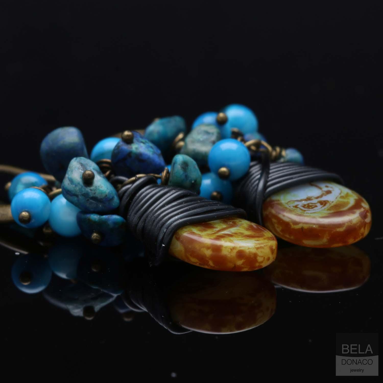 Oorbellen Bohemian - Tsjechisch glas druppel - Turquoise - Parelmoer-8