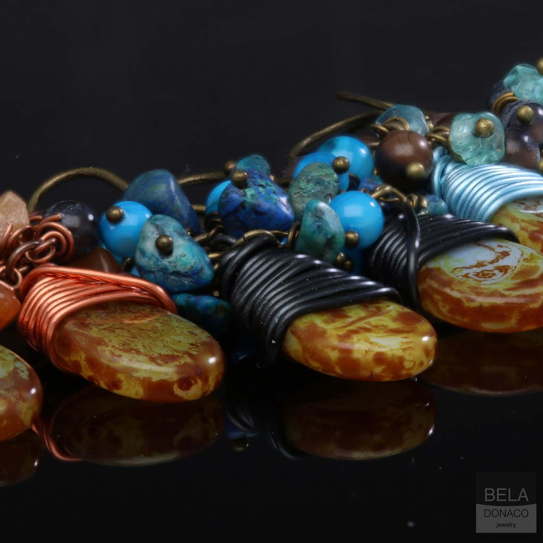 Oorbellen Bohemian - Tsjechisch glas druppel - diverse edelstenen - Parelmoer-8