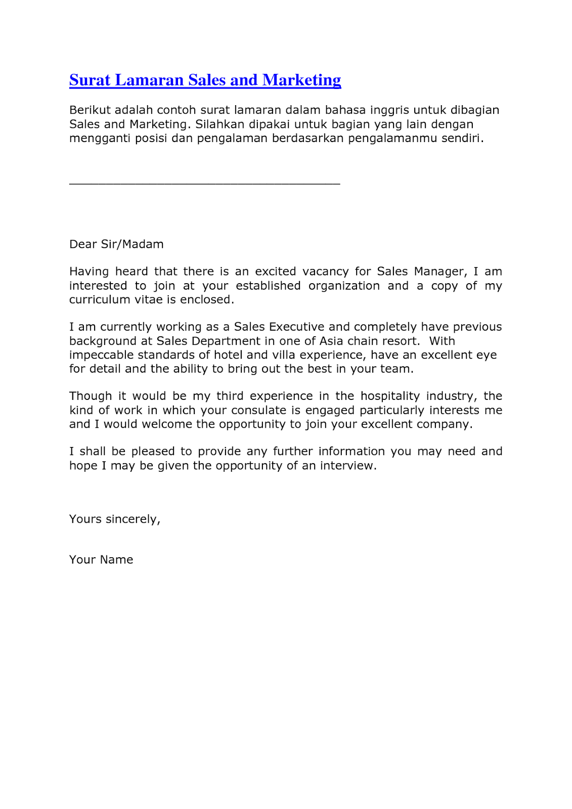 Contoh Surat Lamaran Kerja Bahasa Inggris Untuk Fresh