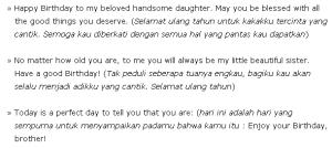 Contoh Ucapan selamat ulang tahun kepada saudara perempuan dalam bahasa inggris dan artinya