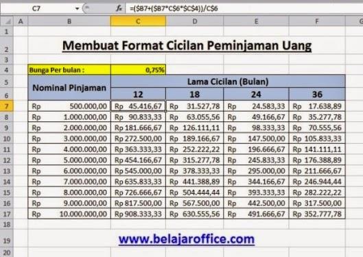 Membuat Format Cicilan Pinjaman Uang Dengan Rumus Excel