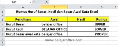 Rumus Ubah Huruf Kapital di Excel