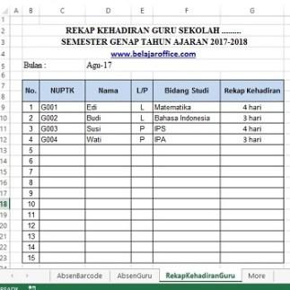 Membuat Absensi Barcode Sederhana Excel Otomatis