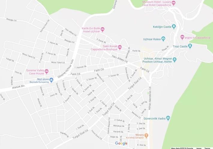 map cappadocia, turkey uchisar