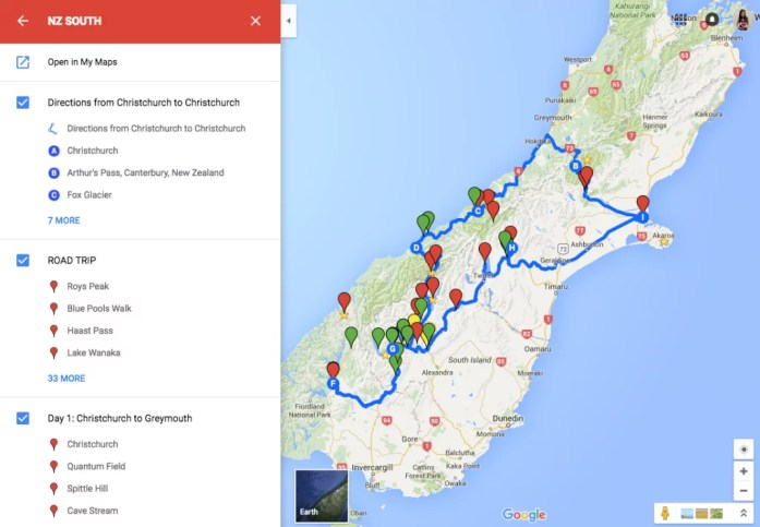 New Zealand Road trip map on Google Maps