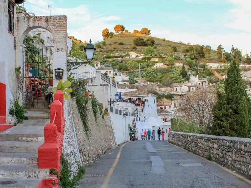 Sacromonte Granada Spain White Houses Winding Alley
