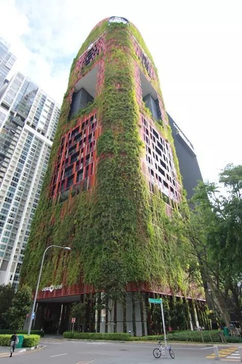 oasia hotel downtown red-mesh-facade-tanjong-pagar