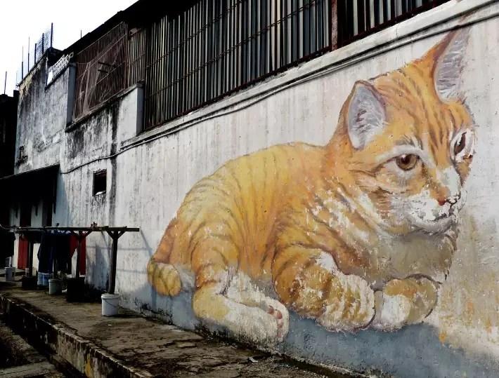 penang street art, The Giant Cat Mural (Skippy)