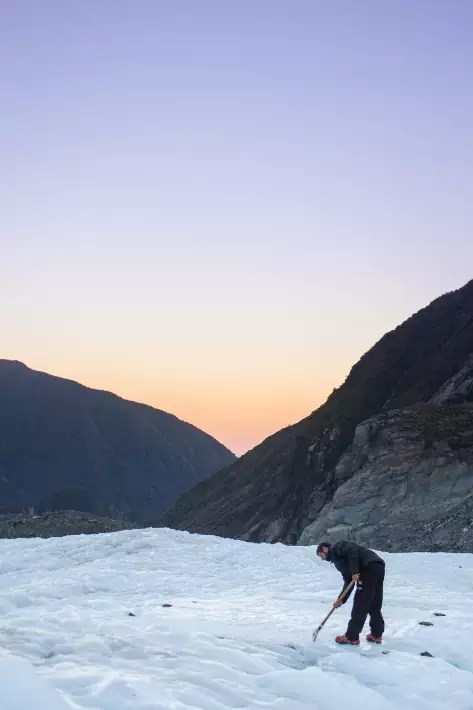 sunrise fox glacier chop ice, new zealand
