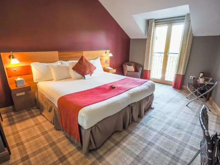 bedroom, the inn on Loch lomond, scotland itinerary