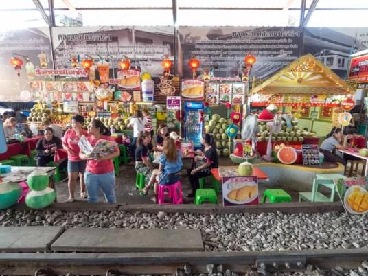 maeklong station food stall, Day trips from Bangkok -Amphawa Floating Market, Maeklong Railway Market, Ban Bang Phlap