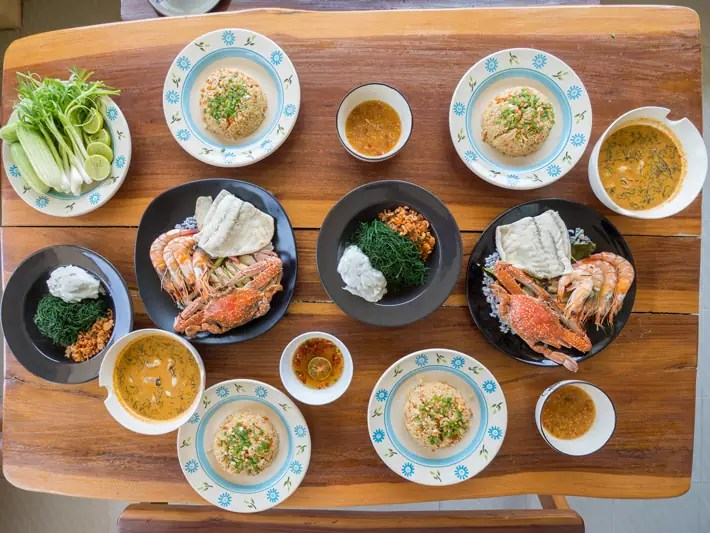 salt farm baanya local lunch seafood spread, Day-trips-from-Bangkok,-Thailand