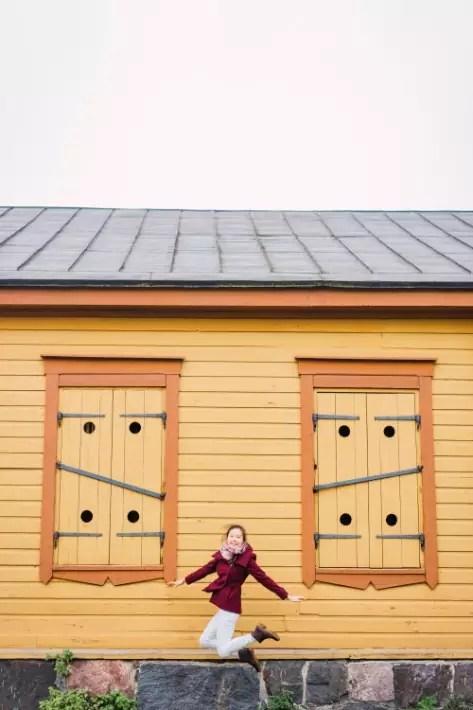 jump, pretty buildings, Suomenlinna, Helsinki, Finland