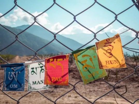 prayer flags, Chimi Lhakhang Phallus Bhutan