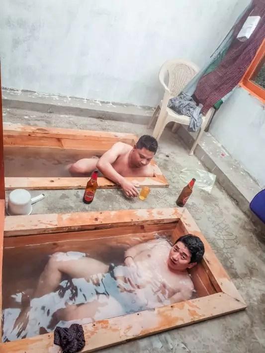 stone bath local beer, bhutan