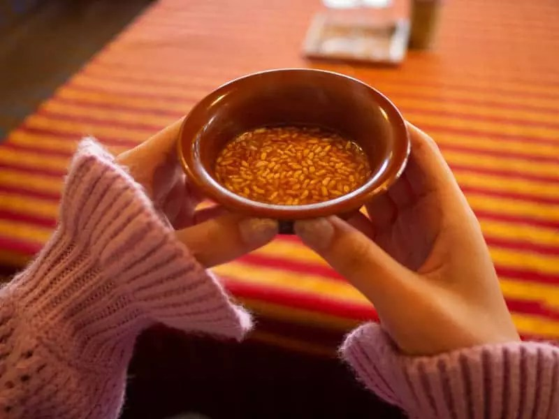 Butter-tea-with-crispy-rice-what-to-eat-in-bhutan