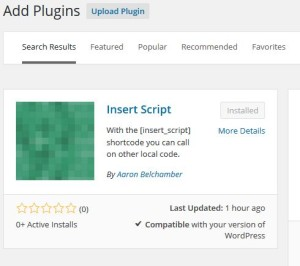 Insert Script WordPress Plugin Screenshot