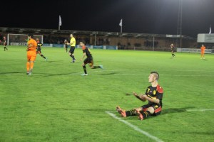 Gent's Jinty Caenepeel in unfamilair pose for the Belgium U17s.