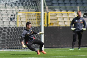 Thibaut Courtois in training with the national team (copyright John Chapman)