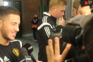 De Bruyne and Hazard working together against the media after Belgium-Bosnia (copyright John Chapman)