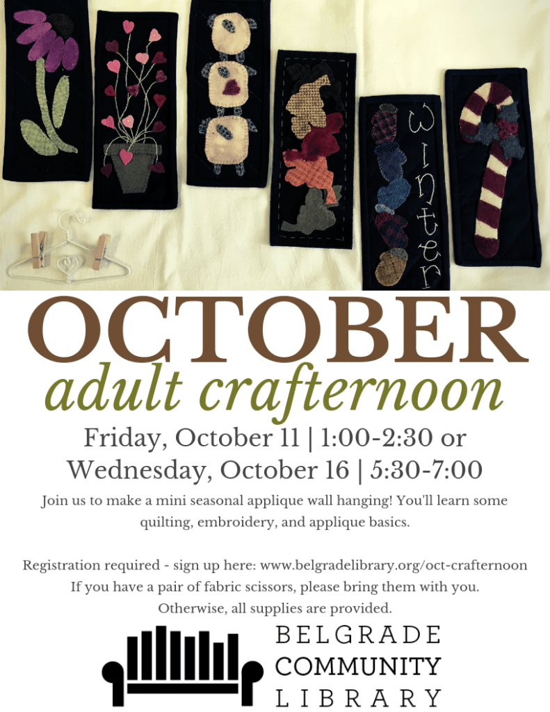 October Adult Crafternoon Flyer