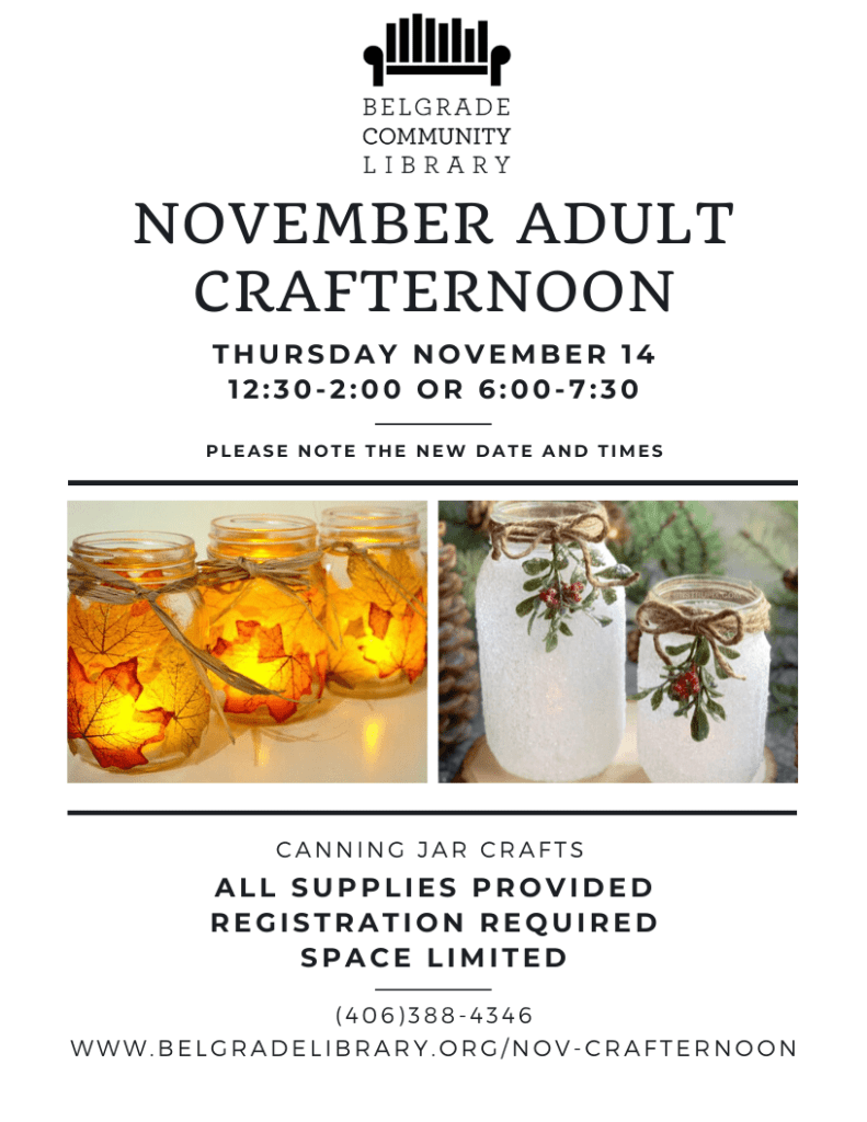 November Adult Crafternoon Flyer