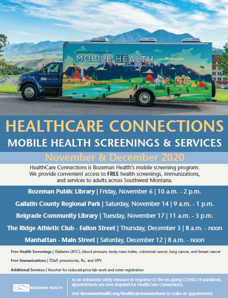 Healthcare Connections Mobile Screenings November and December, 2020