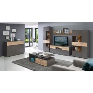 meuble tv gris effet bois l 150 cm tony