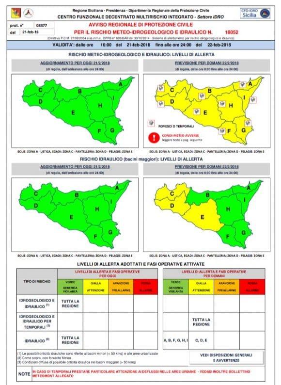 Castelvetrano: ALLERTA meteo per giovedì 22 febbraio