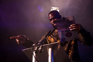 Ghetts presenting the 'Golden Welly Award for Best Independent Festival'