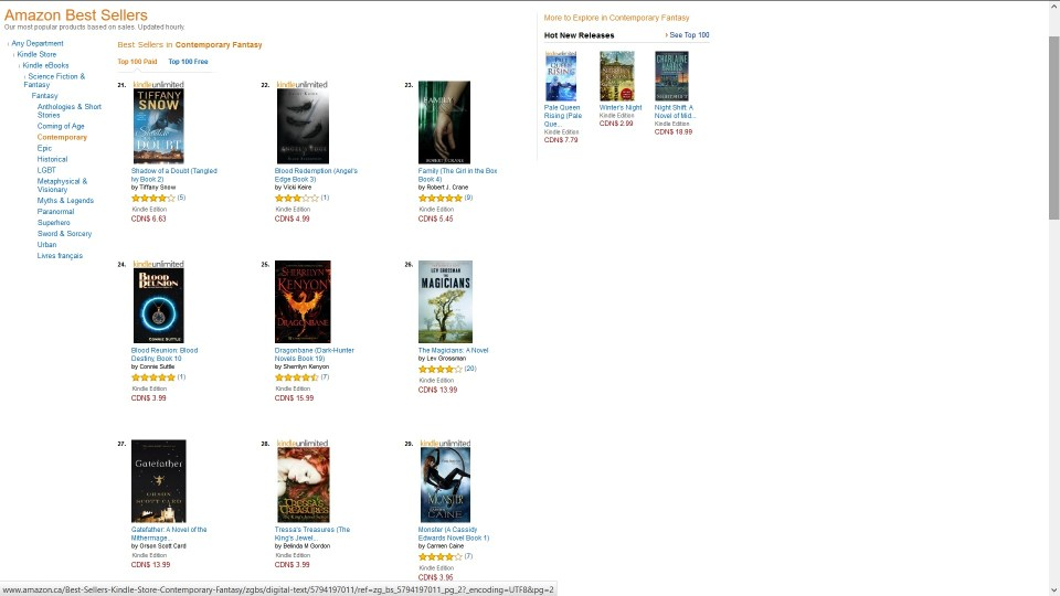 Screenshot of Tressa's Treasures Ranking on Amazon.ca