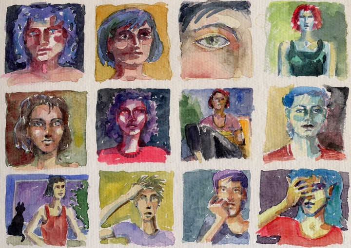fifteen bright thumbnails of faces and figures in watercolor on a single page