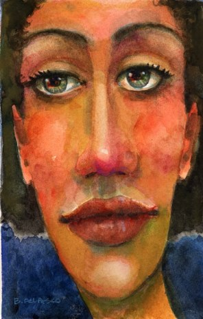 watercolor portraits of caricature faces
