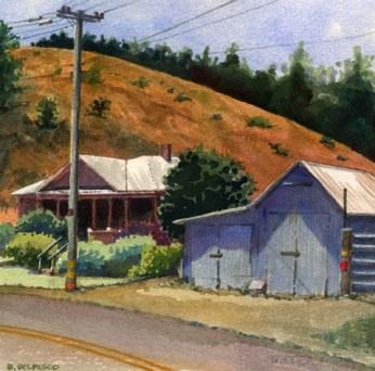Tin Barn Near Adalaida 6.5x6.5 Watercolor