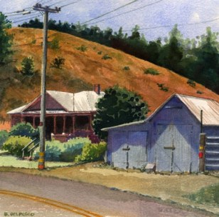 Tin Barn Near Adalaida 6.5x6.5 Watercolor