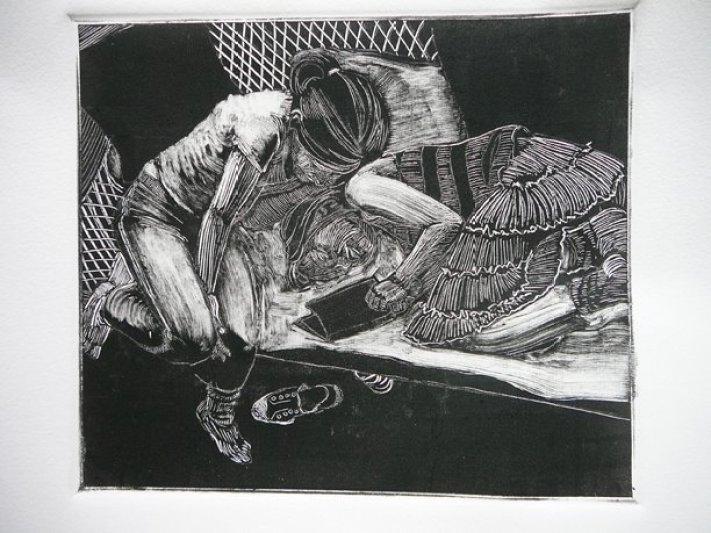 a dark field monotype of two little girls reading on a wicker love seat