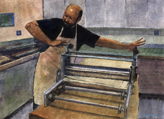 Watercolor - Portrait of a Printmaker, and Bad Artist Advise
