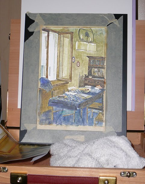 the beginnings of a roomscape painting in transparent washes of watercolor